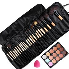 pro 24pcs makeup brushes set kits and 15 colors concealer palette and sponge puff good quality