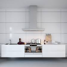 Kitchen Accessories White Symmetrical Kitchen Range With Natural Wooden Kitchen