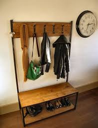 Coat Rack With Bench Seat Industrial style coat stand bench seat Treggy entryway 98
