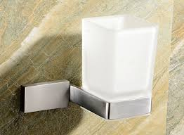 wall mounted frosted glass tumbler with satin stainless steel holder