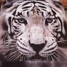 wish 2018 new fashion 100 cotton 3d lifelike white tiger 3d bedding set of duvet cover bed sheet pillowcases