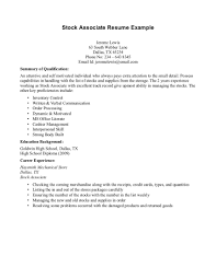 Cover Letter Resume Examples Experience Work Stock Associate
