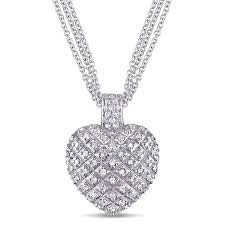 amour 1 ct tw diamond heart pendant with triple chain in sterling silver 7500022293