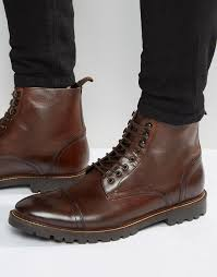 base london siege lace up leather boots