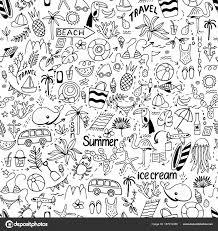 Dood の分離かわいいイメージの夏セットのシームレス パターン