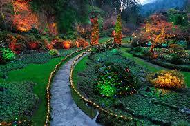 garden lighting ideas. Beautiful Garden Night Lighting Scene In Butchart Gardens, Victoria, British Columbia, Canada. Ideas