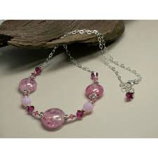 raspberry sorbet borosilicate glass lampwork swarovski crystal all about you artisan designer jewelry ruby lane