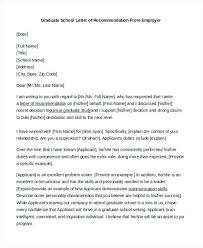 Reference Letter Sample For Graduate School From A Manager Capable