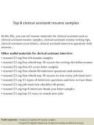 top 8 clerical assistant resume samples in this file you can ref resume materials for sample clerical assistant resume