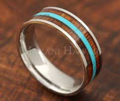 8mm koa wood turquoise ring snless steel flat shape fort fit makani hawaii hawaiian heirloom jewelry wholer and manufacturer