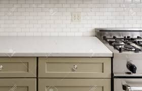 Tiling A Kitchen Countertop Kitchen Counter With Subway Tile Stainless Steel Oven Stove