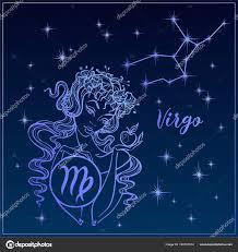 Zodiac Sign Virgo As A Beautiful Girl векторное изображение