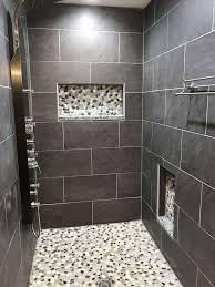 tile shower seat inspirational modern shower remodel using sliced bali turtle pebble tile in the