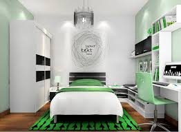 Black And White And Green Bedroom And D Rendering Of Childrens Bedroom In Black  White And Green