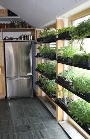 indoor kitchen garden. Kitchen With Refrigerator And Indoor Herb Garden E