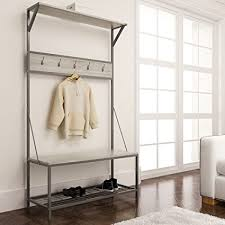 Metal Entryway Storage Bench Coat Rack