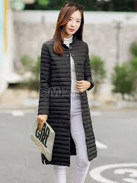 women s down coat stand collar knee length on solid color lightweight winter coat no