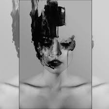 black and whiter abstract girl art