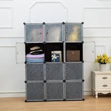 unicoo multi use diy plastic 12 cube organizer bookcase storage cabinet wardrobe closet black with white door regular cube