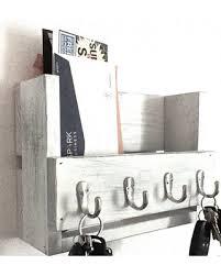 Rustic key holder mail organizer wooden key rack reclaimed wood entryway shelf  key hooks distressed farmhouse