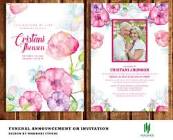 Funeral Invitation Template Enchanting Funeral Invitation Or Announcement Card 48x48 Funeral Card Etsy