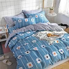 light blue white print pattern home textile 3 bedding set bed sheet duvet cover pillowcase cloud bed cover bedlinens 5 size single duvet double duvet from