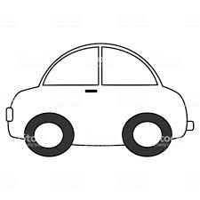 ぬりえアートのための白黒の漫画の車のベクトルのイラスト おもちゃの
