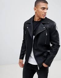 new look men s biker jacket with zip detail in black