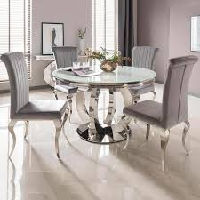 Remarkable Round Kitchen Table On Orion White Dining And 4 Silver