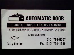 automatic door garage door services garage door services 37580 enterprise ct newark ca phone number yelp