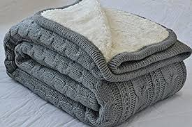 Amazon.com: Luxury All Season Soft Cable Sweater Knitting Throw ... & Luxury All Season Soft Cable Sweater Knitting Throw Blanket Quilt Throw  with Sherpa Lining for Bed Adamdwight.com