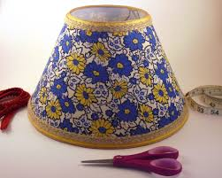 Vintage Fabric Empire Lampshade Yellow And Blue Floral Design