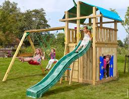 kids outdoor climbing frames fort playhouse 2 swing