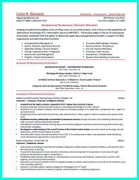 Cyber Security Analyst Resume It Manager Project Objective