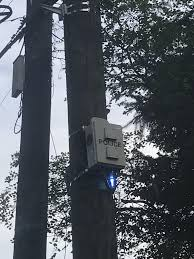 Box On Light Pole Some Kind Of Police Box Strapped To A Power Pole Theres A