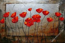 red wall art decor red poppies blossom floral oil painting wall art modern canvas art red on red poppy flower wall art with red wall art decor red poppies blossom floral oil painting wall art
