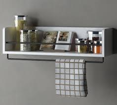 kitchen wood wall shelf with metal rail e rack white 20 inch