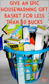 this housewarming gift basket cost less than 50 to make and everything came from dollar general