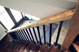 image of rustic stair railing diy pipe handrail iron country