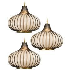 elegant chandelier and pendant light sets set of 3 glass and brass toned metal frame garlic