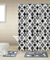 details about mitosis black white 15 piece bathroom accessory set 2 bath mats shower curtain