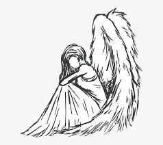 Angel Sketch Angel Angelic Black White Sketch Lineart