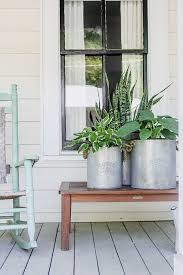 Hostas and a snake plant on a beautifully decorated front porch