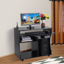 Small Computer Desk Home Office PC Table Workstation With Storage Shelves  Unit
