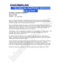 Chamberlain Technical Support Technical Support Service Bulletin Manualzz Com