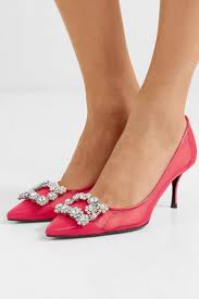 womens roger vivier evening shoes flower crystal embellished mesh and patent leather pumps pink pink