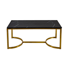solid black marble coffee table with brushed brass gold legs