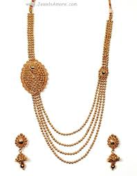 Gold Beautiful Necklace Design Golden Long Haram Set With Beautiful Design