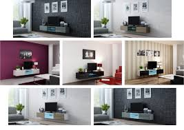 caspian high gloss cm floating tv cabinet unit with glass shelf and led lights living room