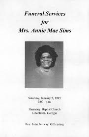 Funeral Services for Mrs. Annie Mae Sims